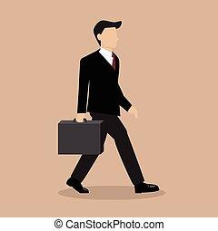 camminando cartella, uomo affari