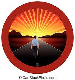 camminando verso, cornice, -, rotondo, vettore, strada, orizzonte, solo, immagine, rosso, uomo