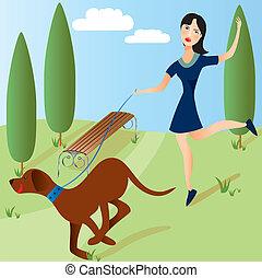 camminare, 2, mio, cane