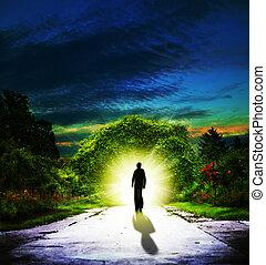 camminare, a, eden., astratto, spirituale, sfondi