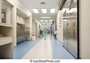 camminare, attraverso, corridoio ospedale, dottore