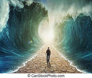 camminare, attraverso, il, acqua