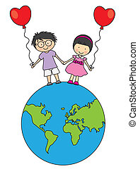 camminare, bambini, globo