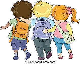 camminare, bambini, insieme