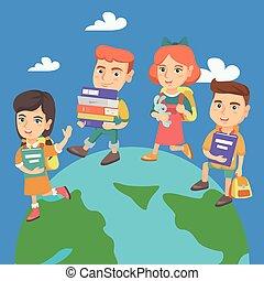 camminare, bambini, intorno, planet., terra, prescolastico