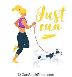 camminare, coccolare, cane, illustrazione, vettore, cartone animato