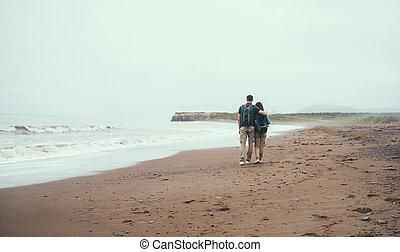 camminare, coppia, mare, viaggiatore, spiaggia, amare
