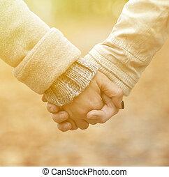 camminare, coppia, parco, mentre, closeup, tenere mani