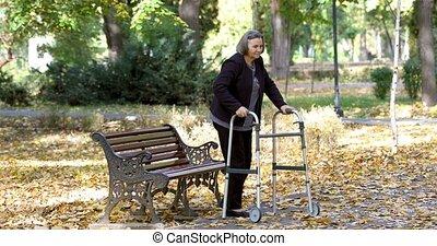 camminare, donna, alzarsi, fuori, camminatore, anziano
