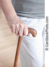 camminare, donna, bastone, anziano