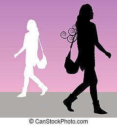 camminare, donna, borsellino
