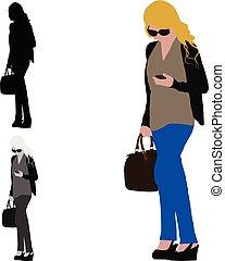 camminare, donna, colorato, lei, realistico, mobile, illustrazione, mano, telefono