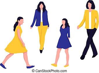 camminare, donna, colorito, set., illustrazione, silhouette., vettore, fondo, bianco