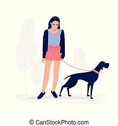 camminare, donna, illustration., cane, giovane, vettore