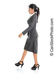 camminare, donna, indiano, affari
