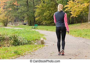 camminare, donna, parco, adattare
