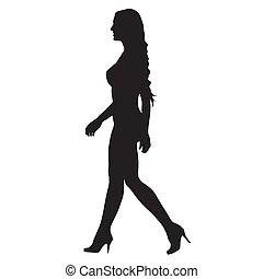 camminare, donna, silhouette, stivali, swimsuits, alto, profilo, vettore, due pezzi, va, sexy, lato, tallone, vista