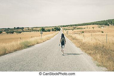 camminare, donna, strada