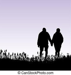 camminare, donna, uomo