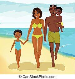 camminare, famiglia, americano, africano, lungo, spiaggia, felice