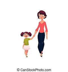 camminare, figlia, mani insieme, presa a terra, madre