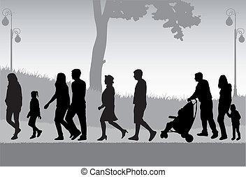 camminare, folla, persone