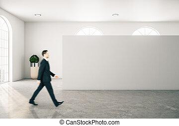 camminare, galleria, uomo affari, interno, contemporaneo