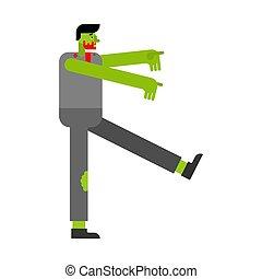 camminare, go., isolated., morto, zombie, vettore, verde
