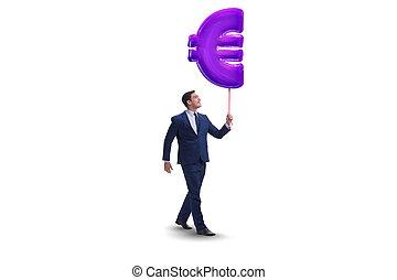 camminare, gonfiabile, isolato, segno, uomo affari, bianco, euro