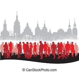 camminare, gruppo, persone