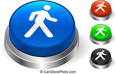 camminare, icona, bottone, internet