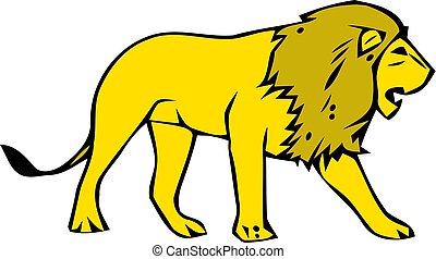 camminare, illustration., isolato, fondo., leone, vettore, bianco