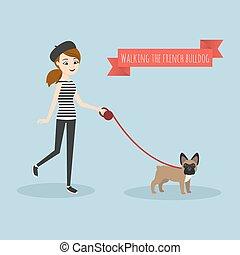 camminare, lei, bulldog., giovane, illustrazione, vettore, francese, ragazza