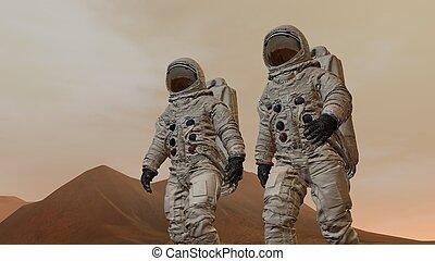 camminare, mars., colonia, il portare, causa spaziale, due, superficie, rendering., 3d, astronauti