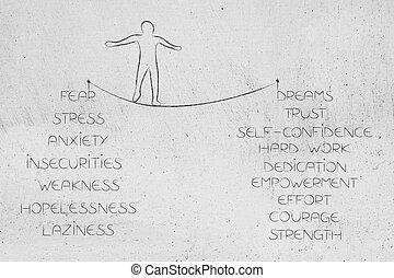 camminare, metafora, stretto, positivo, negativo, sentimenti, corda, persona