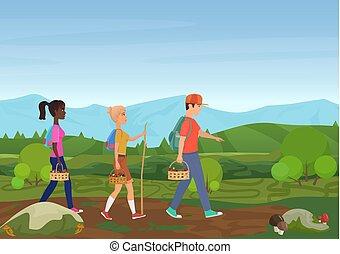 camminare, natura, illustrazione, mushrooms., vettore, scegliere, amici, felice