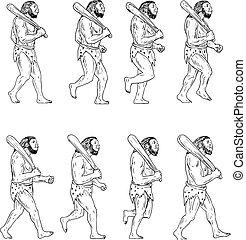 camminare, neanderthal, club, caveman, collezione, set, presa a terra, uomo