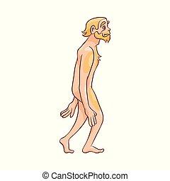 camminare, neanderthal, isolato, illustrazione, fondo., vettore, bianco, uomo