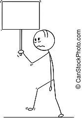 camminare, o, depresso, triste, uomo affari, segno, cartone animato, vuoto, uomo