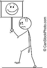 camminare, o, triste, depresso, segno, uomo affari, faccia sorridente, cartone animato, uomo
