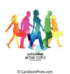 camminare, occupato, watercolour, persone