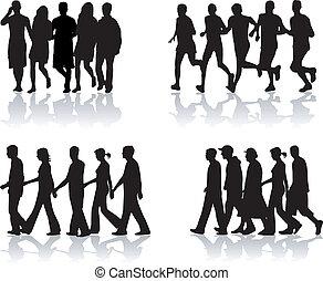 camminare, people-, vettore, lavoro, 1