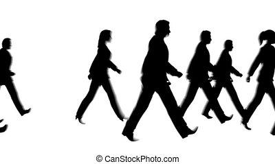 camminare, persone, silhouette, pedone