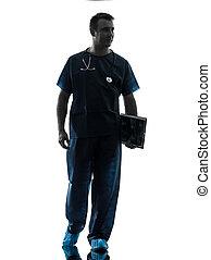 camminare, pieno, silhouette, dottore, lunghezza, uomo