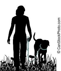 camminare, prato, cane