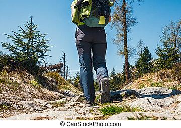 camminare, scarpe, su, escursionista, percorso, chiudere, montagne.