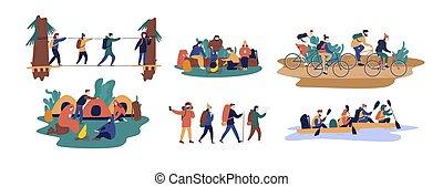 camminare, set, camping., bicycles, insieme., style., andare, sentiero per cavalcate, viaggiante, turisti, appartamento, colorito, uomini, illustrazione, collezione, lungo, amici, cartone animato, donne, barca, vettore, trasportando zattera, o, ponte