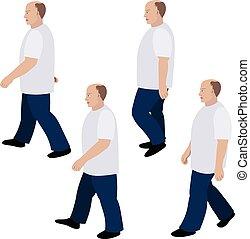 camminare, set, jeans, t-shirt, persona, posizione