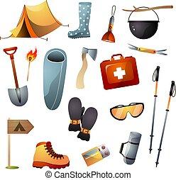 camminare, set, turista, andando gita, apparecchiatura, rampicante, attrezzi, o