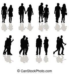 camminare, silhouette, paia, persone